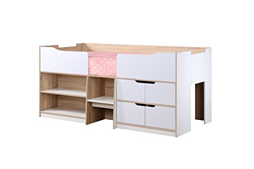 Happy Beds Paddington Cabin Bed Wooden White and Oak Storage Drawers Kids Children with Orthopaedic Mattress 3' Single 90 x 190 cm