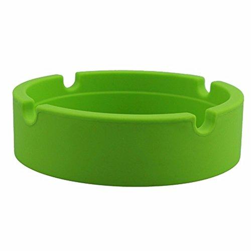 Mecohe Design Rotondo Posacenere da Tavolo, Silicone Gomma Resistente al Calore ad Alta Temperatura Posacenere Antivento - Multicolore (Verde)