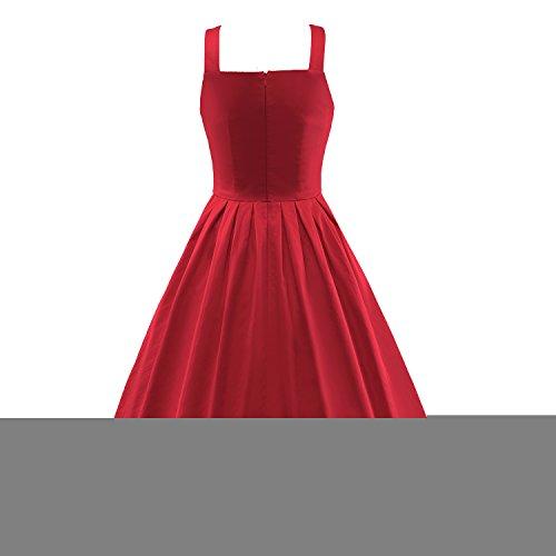 iLover 50er 60er Retro Button vintage Rockabilly kleid Partykleider Cocktailkleider Hochzeitskleid Rot