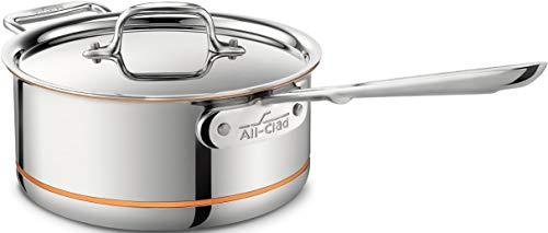 All-Clad 6203SS Euro Copper-Core Stielkasserolle mit Griff und Deckel 20,3 cm, 2,8 Liters, induktionsgeeignet, Edelstahl (All Clad Töpfe)