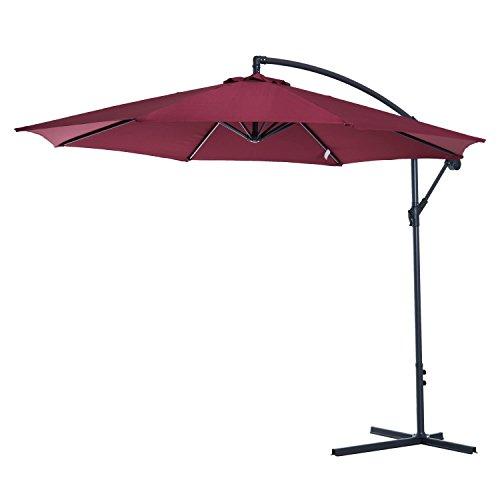 Outsunny ombrellone decentrato da giardino e spiaggia parasole con angolo inclinabile in metallo Φ3 × 2.6m rosso bordeaux
