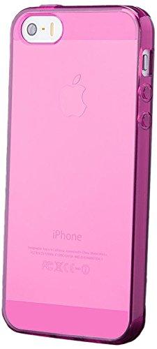 iCues Apple iPhone SE / 5S / 5 |  TPU Matt Case Orange | [Display Schutzfolie Inklusive] Transparent Klarsichthülle Durchsichtig Klare Klarsicht Silikon Gel Schutzhülle Hülle Cover Schutz Pink