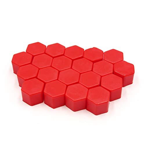 sourcing map 20Pcs silicone rouge clair écrou roue voiture couvre moyeu poussière Protéger Caps vis 21mm