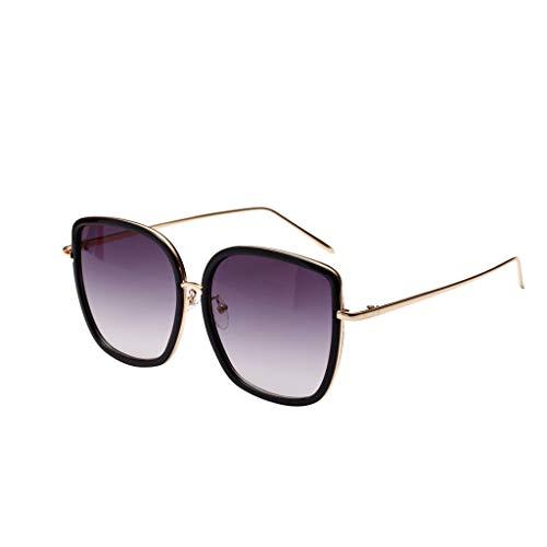 EUCoo Sonnenbrille FüR MäNner Und Damen Mode Netzt Rote SchießPersöNlichkeit GroßE Kasten Sonnenbrille ReisegläSer (Schwarz)