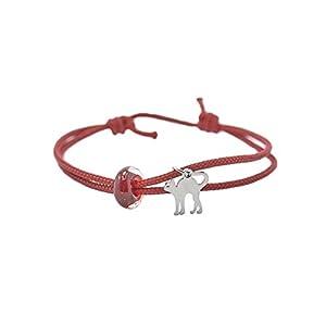 Armband Katze Boro Glasperle rot – verstellbar