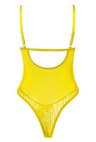 Amorbella Damen Sexy Spitzen-Body, Einteiler, Dessous, Druckknopf-Schritt, Teddy Unterwäsche Gr. L, gelb - 6