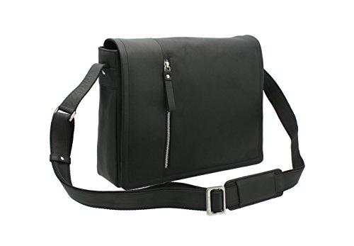 Messenger Bag/Borsa per Portatile in Pelle Ingrassata Visconti 16072 Olio Tan Nero