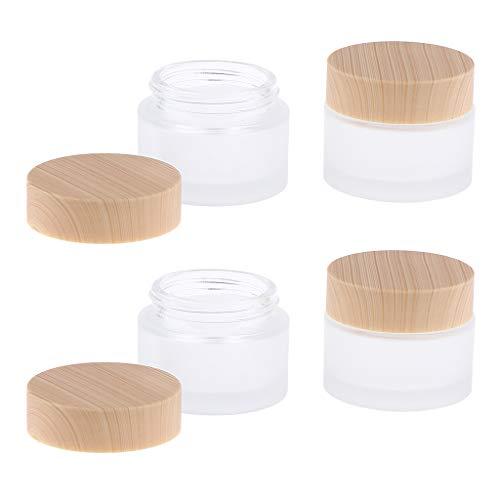 IPOTCH 4PCS Pot Vide en Verre Rond Récipient Rechargeable Etui Cosmétique avec Couvercle Échantillon de Crèmes Stockage Poudre de Beauté