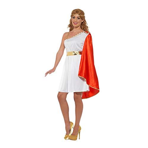 NET TOYS Toga Kostüm Römerin | Weiß-Rot in Größe M (38/40) | Zauberhafts Damen-Outfit Griechin | Genau richtig für Mottoparty & Kostümfest