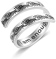 Liuanan Silver I am Enough Ring Inspirational Jewelry Stainless Steel Engraving Size Adjustable Personality En