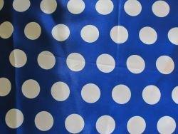 SATIN Stoff mit PUNKTEN gepunktet royal blau weiß bedruckt - Weiß Blau Royal Mit