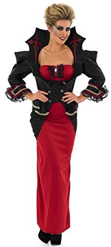 Übergröße Kostüm Vampir - Fancy Me Damen Sexy Rot Schwarz Voll Länge Vampir lang Vampirin Kostüm Kleid Outfit UK 8-30 Übergröße - Rot/schwarz, 8-10