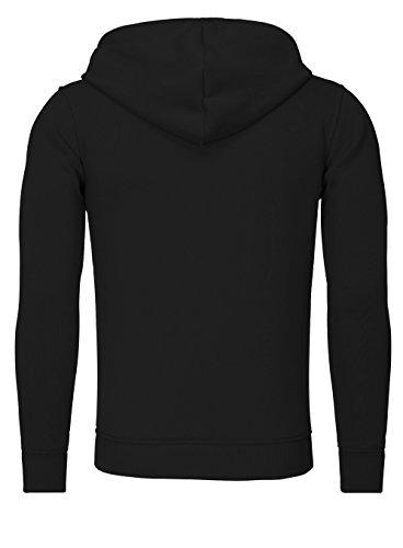 AKITO TANAKA Herren Sweatshirt 18143 Sweater Pullover mit Kapuze versetzter Reißverschluss slim fit kontrast look Schwarz / Blau