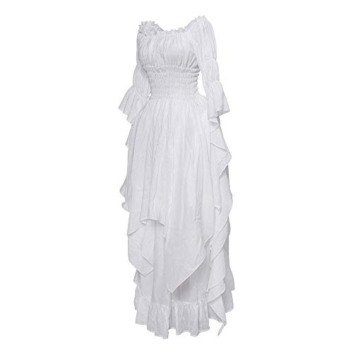 Holywin Frauen Langarm Slash Neck mittelalterlichen Kleid bodenlangen Cosplay Kleid -