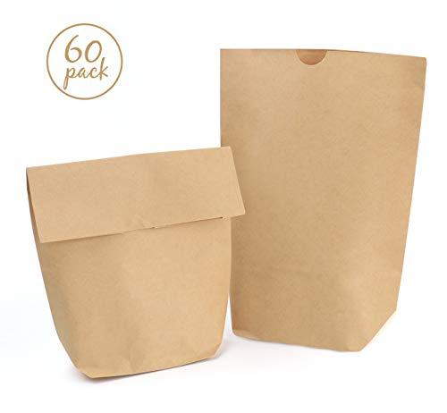 Absofine 60 Braune Papierbeutel Papiertüten Tüten Boden 16x 22 x 6cm 80 gr./m² kleine Kraftpapier Geschenktüten Bodenbeutel natur Obstbeutel Verpackung DIY -