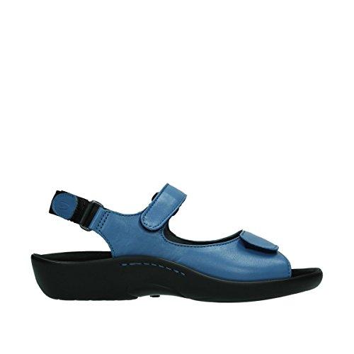 Wolky Womens 1300 Salvia Leather Sandals Bleu - 382 denim Leder