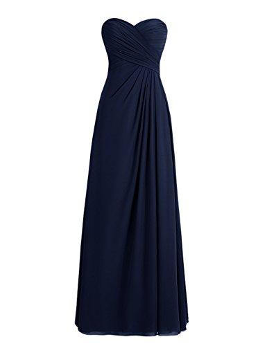 Dresstells, robe de soirée mousseline sans bretelles longueur ras du sol col en cœur Marine
