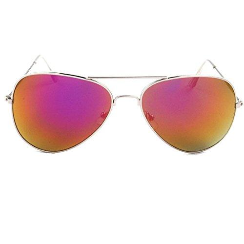 NoyoKere Sonnenbrille Reflektierende Gläser Farbe Metall Spiegelrahmen Brillen Beschichtung Sonnenbrille für Männer Frau Rosa