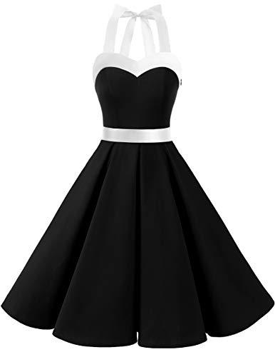 DRESSTELLS Version3.0 Vintage 1950's Audrey Hepburn pin-up Robe de soirée Cocktail Style Halter années 50 à Pois, Noir sans Pois M