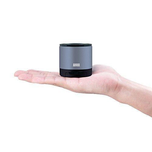 August MS425 – Mobiler Bluetooth v4.0 Lautsprecher mit Mikrofon – Schnurloser Speaker und Freisprecheinrichtung für Smartphones und Handys (silber) - 2