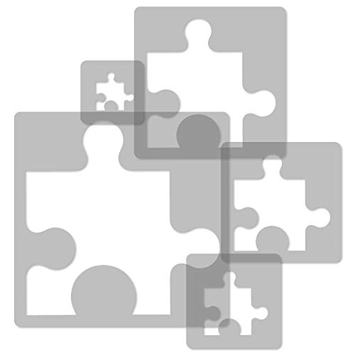 5 Stück wiederverwendbare Kunststoff-Schablonen // PUZZLE // 34x34cm bis 9x9cm // Kinderzimmer-Dekorarion // Kinderzimmer-Vorlage (Flexible Kunststoff-schablone Wiederverwendbare)