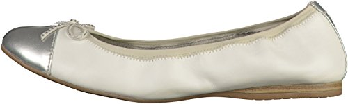 Tamaris Damen 22129 Geschlossene Ballerinas Weiß(Weiß/Silber)