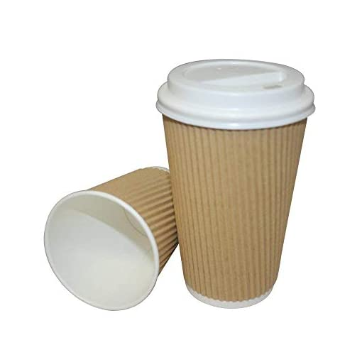 We Can Source It Ltd – Brown Kraft Ripple 16oz Paper Cups with Lids – Eco-Friendly 100% Recyclable – Great for Tea, Coffee, Hot Drinks Takeaway – 100 Pack