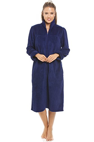 Camille - Robe de chambre pour femme - fermeture Éclair à l'avant - polaire douce - bleu marine 42/44