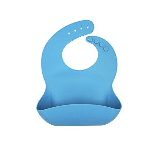 Xmowes bavaglini bavaglini impermeabili confortevoli morbido silicone impermeabile per bambini, facile da mantenere bavaglini alimentazione del bambino silicone pulito e tasca cibo Catcher (blu)