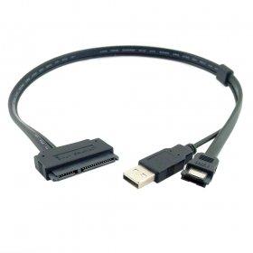 Chenyang 6,3cm disque dur SATA 22pin to eSATA Data + USB Alimenté par câble 50cm par CY