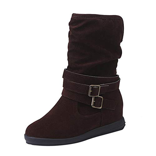 Bottes Hautes Femme CIELLTE 2018 Mode Bottes de Neige Hiver Chaussures à Talon Bottines Wedge Plissé Basse Bottes Classiques Extensible sans Lac