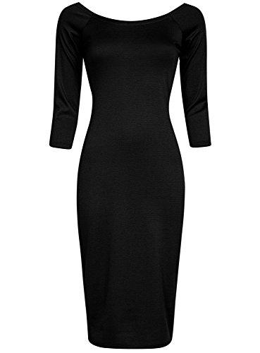 oodji Ultra Damen Enges Kleid mit Rundem Ausschnitt Schwarz (2900N)