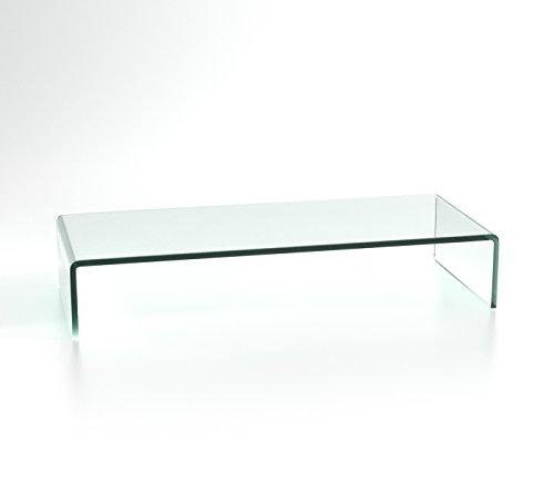 DURATABLE® TV Glasaufsatz Glastisch LCD Tisch Aufsatz Monitorerhöhung Fernsehtisch Glas Schrankaufsatz Aufsatz Fernseher Erhöhung klarglas 650mm x 250mm x 110mm