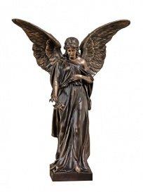 Serafinum Engel mit Rose Statue - Angelo Rosa / Bronze / Dunkel (Statue Engel Bronze)