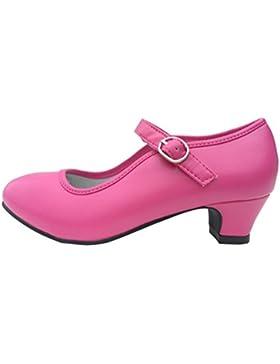 La Señorita Zapato Flamenco Princesa Anna Frozen Bailarinas baile Sevillanas niña rosa fucsia (Talla 24 - 17 cm...