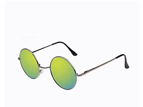SUNGLASSES Sonnenbrille Brille Brille Colorful Reflektierende Große Rahmen-Vintage-Kleine Round-x e
