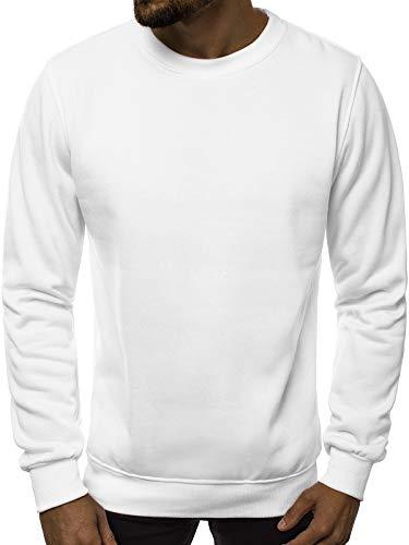 Sport Crewneck Pullover (OZONEE Herren Sport Fitness Training Crewneck Täglichen Modern Sweatshirt Langarmshirt Pullover Warm Basic J. Style 2001-10 M WEIß)
