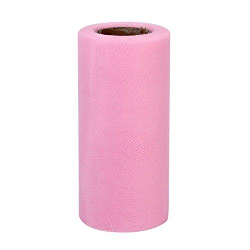 LEORX Rolle von 22M * 15CM Bankett Hochzeit DIY Tüll Craft Tutu Dekoration (Rosa) Pink Floral Tischläufer