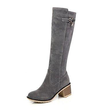 RTRY Scarpe Donna Autunno / Inverno Stivali Da Cavallo / Round Toe Stivali / Abbigliamento Casual Chunky Heel Zipper Nero / Grigio / Mandorla US9.5-10 / EU41 / UK7.5-8 / CN42