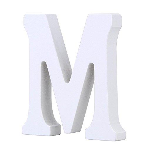 Weiße Holzbuchstaben 8cm von A-Z für Kinderzimmer oder Tür, persönliches Geschenk & Dekoration (Preis pro Buchstabe) (M)