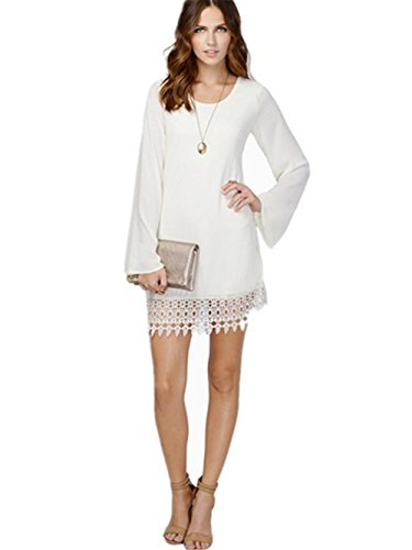 HYHAN Robe printemps / été de la mode vestimentaire en mousseline de soie Plus Size Lace Hem Stitching respirante Long Beach Dress White
