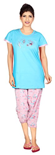 Carrel Cotton Hosiery Fabric Women Print Top & Capri Set(AGSPL-3450)