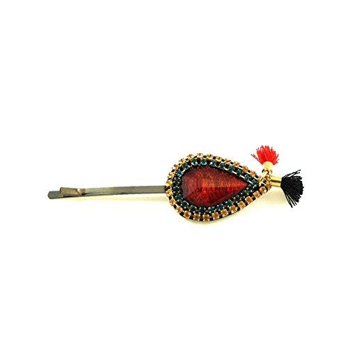 rougecaramel - Accessoires cheveux - Mini pince cheveux fantaisie strass et pompom - rouge orangé