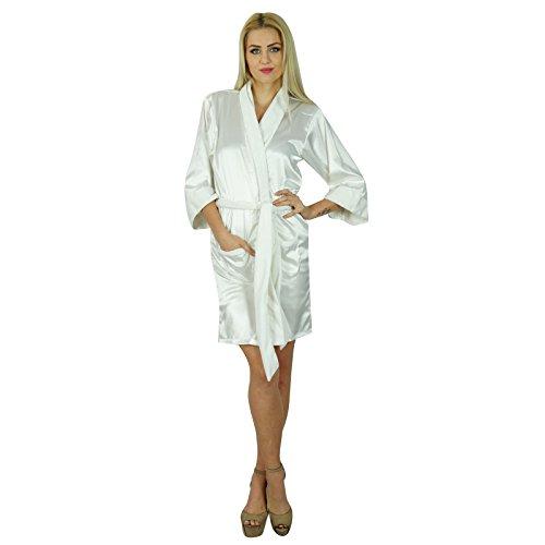 Bimba Frauen Kurz Satinrobe Velvet Gürtel Getting Ready Brautjungfer benutzerdefinierte Robe Coverup Weiß