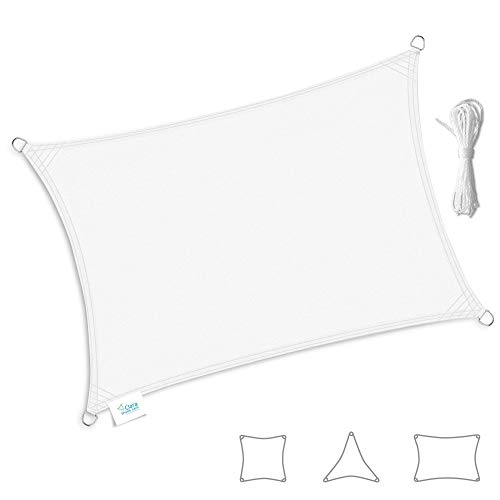 Clara Shade Sails - Vela Tenda Parasole da Giardino/Veranda Premium Sun, 98% Protezione UV, Impermeabile Blanco (Rectangle 2m x 3m)