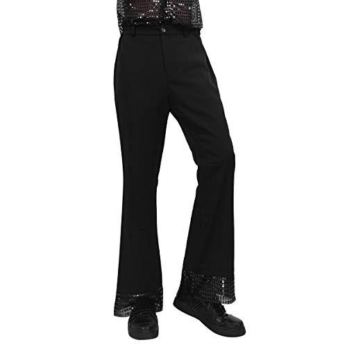 ranrann Herren Schlaghose 70er Jahre Retro Kostüm Hippy Hose Glockenhose Lange Hosen Pants Männer Leggings Freizeit Hose Hippy Disco Tanz Hosen Clubwear Party Bekleidung Schwarz (Retro Tanz Kostüme Für Männer)