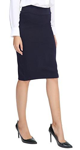 Damen Midi Rock Stretch Figurbetont Business Bleistift Röcke navy blau