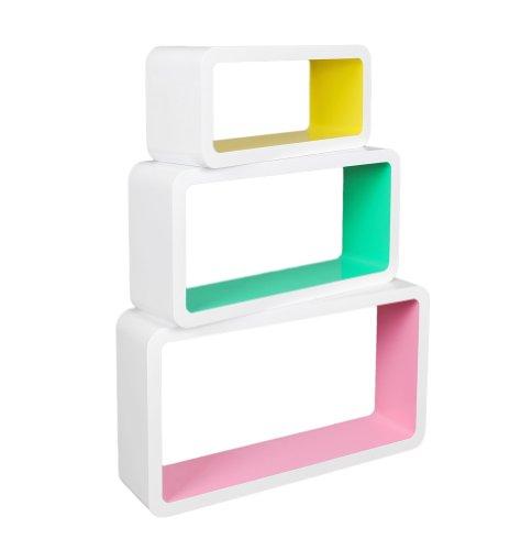 3er-Set-Lounge-Cube-Regal-Design-Retro-70er-Jahre-Wandregal-Hngeregal-lngliche-Form-in-drei-coolen-Farben-Wei-mit-Rosa-Gelb-und-Grn
