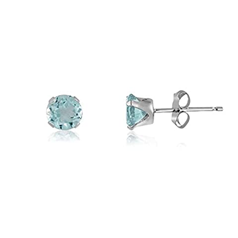 2MM Classic Brilliant Round Cut CZ Sterling Silver Stud Earrings - AQUAMARINE BLUE - Or Choose From 2mm to 12mm. 2-AQUA