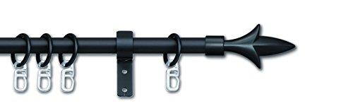 CG-Sonnenschutz Gardinenstange Lilie ausziehbar 16/13 mm schwarz oder silber komplett inkl Träger & Ringe (130 - 240 cm, schwarz)